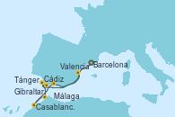Visitando Barcelona, Cádiz (España), Tánger (Marruecos), Casablanca (Marruecos), Gibraltar (Inglaterra), Málaga, Valencia
