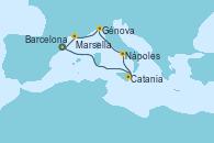 Visitando Barcelona, Catania (Sicilia), Nápoles (Italia), Génova (Italia), Marsella (Francia), Barcelona