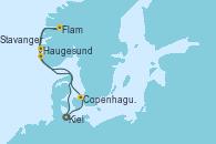 Visitando Kiel (Alemania), Copenhague (Dinamarca), Flam (Noruega), Haugesund (Noruega), Stavanger (Noruega), Kiel (Alemania)