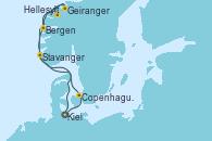 Visitando Kiel (Alemania), Copenhague (Dinamarca), Hellesylt (Noruega), Geiranger (Noruega), Bergen (Noruega), Stavanger (Noruega), Kiel (Alemania)