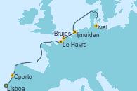 Visitando Lisboa (Portugal), Oporto (Portugal), Le Havre (Francia), Brujas (Bélgica), Ijmuiden (Ámsterdam), Kiel (Alemania)