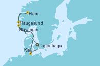 Visitando Copenhague (Dinamarca), Flam (Noruega), Haugesund (Noruega), Stavanger (Noruega), Kiel (Alemania), Copenhague (Dinamarca)