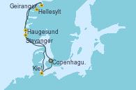 Visitando Copenhague (Dinamarca), Hellesylt (Noruega), Geiranger (Noruega), Haugesund (Noruega), Stavanger (Noruega), Kiel (Alemania), Copenhague (Dinamarca)