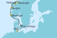 Visitando Copenhague (Dinamarca), Hellesylt (Noruega), Geiranger (Noruega), Bergen (Noruega), Stavanger (Noruega), Kiel (Alemania), Copenhague (Dinamarca)