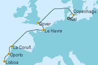 Visitando Kiel (Alemania), Copenhague (Dinamarca), Dover (Inglaterra), Le Havre (Francia), La Coruña (Galicia/España), Oporto (Portugal), Lisboa (Portugal)