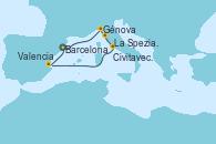 Visitando Barcelona, Génova (Italia), La Spezia, Florencia y Pisa (Italia), Civitavecchia (Roma), Valencia, Barcelona