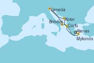 Visitando Atenas (Grecia), Corfú (Grecia), Kotor (Montenegro), Venecia (Italia), Brindisi (Italia), Mykonos (Grecia), Atenas (Grecia)