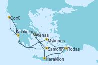 Visitando Atenas (Grecia), Heraklion (Creta), Rodas (Grecia), Mykonos (Grecia), Katakolon (Olimpia/Grecia), Corfú (Grecia), Santorini (Grecia), Atenas (Grecia)