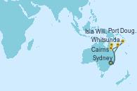 Visitando Sydney (Australia), Whitsunday Island (Australia), Cairns (Australia), Cairns (Australia), Port Douglas (Australia), Isla Willis (Australia), Sydney (Australia)