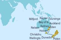 Visitando Auckland (Nueva Zelanda), Bay of Islands (Nueva Zelanda), Tauranga (Nueva Zelanda), Napier (Nueva Zelanda), Wellington (Nueva Zelanda), Nelson (Nueva Zelanda), Picton (Australia), Christchurch (Nueva Zelanda), Dunedin (Nueva Zelanda), Dunedin (Nueva Zelanda), Milfjord Sound (Nueva Zelanda), Hobart (Australia), Eden (Nueva Gales), Sydney (Australia)