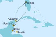 Visitando Tampa (Florida), Cozumel (México), Roatán (Honduras), Belize (Caribe), Puerto Costa Maya (México), Tampa (Florida)