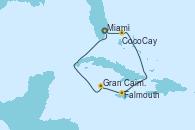 Visitando Miami (Florida/EEUU), CocoCay (Bahamas), Falmouth (Jamaica), Gran Caimán (Islas Caimán), Miami (Florida/EEUU)