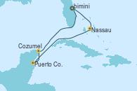 Visitando Puerto Cañaveral (Florida), Nassau (Bahamas), Puerto Costa Maya (México), Cozumel (México), Puerto Cañaveral (Florida)