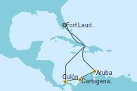 Visitando Fort Lauderdale (Florida/EEUU), Colón (Panamá), Cartagena de Indias (Colombia), Aruba (Antillas), Aruba (Antillas), Fort Lauderdale (Florida/EEUU)