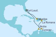 Visitando Fort Lauderdale (Florida/EEUU), Labadee (Haiti), La Romana (República Dominicana), Aruba (Antillas), Curacao (Antillas), Fort Lauderdale (Florida/EEUU)