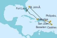 Visitando Fort Lauderdale (Florida/EEUU), Labadee (Haiti), San Juan (Puerto Rico), Philipsburg (St. Maarten), Basseterre (Antillas), Castries (Santa Lucía/Caribe), St. John´s (Antigua y Barbuda), Fort Lauderdale (Florida/EEUU)