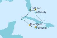 Visitando Fort Lauderdale (Florida/EEUU), Gran Caimán (Islas Caimán), Falmouth (Jamaica), CocoCay (Bahamas), Fort Lauderdale (Florida/EEUU)