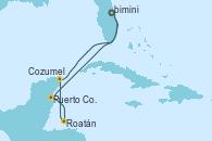 Visitando Puerto Cañaveral (Florida), Puerto Costa Maya (México), Roatán (Honduras), Cozumel (México), Puerto Cañaveral (Florida)