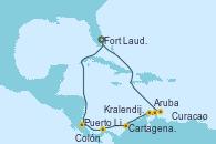 Visitando Fort Lauderdale (Florida/EEUU), Puerto Limón (Costa Rica), Colón (Panamá), Cartagena de Indias (Colombia), Aruba (Antillas), Kralendijk (Antillas), Curacao (Antillas), Fort Lauderdale (Florida/EEUU)