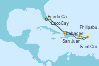 Visitando Puerto Cañaveral (Florida), Labadee (Haiti), San Juan (Puerto Rico), Philipsburg (St. Maarten), Saint Croix (Islas Vírgenes), CocoCay (Bahamas), Puerto Cañaveral (Florida)