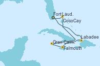 Visitando Fort Lauderdale (Florida/EEUU), Labadee (Haiti), Falmouth (Jamaica), Gran Caimán (Islas Caimán), CocoCay (Bahamas), Fort Lauderdale (Florida/EEUU)