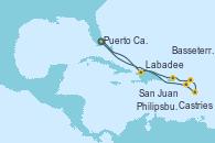 Visitando Puerto Cañaveral (Florida), Labadee (Haiti), San Juan (Puerto Rico), Philipsburg (St. Maarten), Castries (Santa Lucía/Caribe), Basseterre (Antillas), Puerto Cañaveral (Florida)