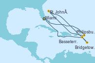 Visitando Miami (Florida/EEUU), Philipsburg (St. Maarten), St. John´s (Antigua y Barbuda), Bridgetown (Barbados), Basseterre (Antillas), Miami (Florida/EEUU)