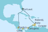 Visitando Fort Lauderdale (Florida/EEUU), Puerto Limón (Costa Rica), Colón (Panamá), Cartagena de Indias (Colombia), Aruba (Antillas), Curacao (Antillas), Kralendijk (Antillas), Fort Lauderdale (Florida/EEUU)