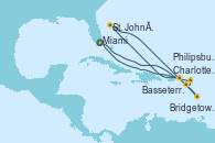 Visitando Miami (Florida/EEUU), Charlotte Amalie (St. Thomas), St. John´s (Antigua y Barbuda), Bridgetown (Barbados), Basseterre (Antillas), Philipsburg (St. Maarten), Miami (Florida/EEUU)