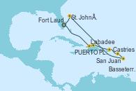 Visitando Fort Lauderdale (Florida/EEUU), Labadee (Haiti), PUERTO PLATA, REPUBLICA DOMINICANA, San Juan (Puerto Rico), Basseterre (Antillas), Castries (Santa Lucía/Caribe), St. John´s (Antigua y Barbuda), Fort Lauderdale (Florida/EEUU)