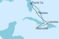 Visitando Puerto Cañaveral (Florida), Nassau (Bahamas), Falmouth (Jamaica), Labadee (Haiti), Puerto Cañaveral (Florida)