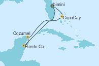 Visitando Puerto Cañaveral (Florida), CocoCay (Bahamas), Puerto Costa Maya (México), Cozumel (México), Puerto Cañaveral (Florida)