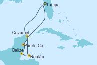 Visitando Tampa (Florida), Puerto Costa Maya (México), Belize (Caribe), Roatán (Honduras), Cozumel (México), Tampa (Florida)