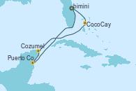 Visitando Puerto Cañaveral (Florida), CocoCay (Bahamas), Cozumel (México), Puerto Costa Maya (México), Puerto Cañaveral (Florida)