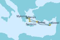 Visitando Atenas (Grecia), Limassol (Chipre), Rodas (Grecia), Santorini (Grecia), Mykonos (Grecia), Atenas (Grecia)