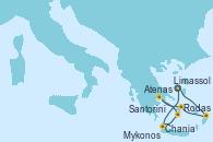 Visitando Limassol (Chipre), Rodas (Grecia), Mykonos (Grecia), Atenas (Grecia), Santorini (Grecia), Chania (Creta/Grecia), Limassol (Chipre)