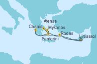 Visitando Limassol (Chipre), Atenas (Grecia), Mykonos (Grecia), Santorini (Grecia), Chania (Creta/Grecia), Rodas (Grecia), Limassol (Chipre)