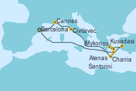 Visitando Barcelona, Cannes (Francia), Civitavecchia (Roma), Chania (Creta/Grecia), Mykonos (Grecia), Atenas (Grecia), Kusadasi (Efeso/Turquía), Santorini (Grecia), Barcelona