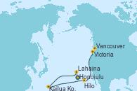 Visitando Honolulu (Hawai), Honolulu (Hawai), Lahaina  (Hawai), Lahaina  (Hawai), Kailua Kona (Hawai/EEUU), Hilo (Hawai), Victoria (Canadá), Vancouver (Canadá)