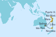 Visitando Sydney (Australia), Nouméa (Nueva Caledonia), Isla Mystery (Vanuatu), Mare (Nueva Caledonia), Puerto Vila (Vanuatu), Isla Pines (New Caledonia/Francia), Lifou (Isla Loyalty/Nueva Caledonia), Sydney (Australia)