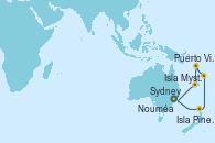 Visitando Sydney (Australia), Isla Pines (New Caledonia/Francia), Isla Mystery (Vanuatu), Puerto Vila (Vanuatu), Nouméa (Nueva Caledonia), Sydney (Australia)