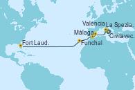 Visitando Civitavecchia (Roma), La Spezia, Florencia y Pisa (Italia), Valencia, Málaga, Funchal (Madeira), Fort Lauderdale (Florida/EEUU)