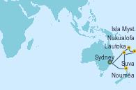 Visitando Sydney (Australia), Nouméa (Nueva Caledonia), Suva (Fiyi), Lautoka (Fiyi), Nukualofa (Tongatapu), Isla Mystery (Vanuatu), Sydney (Australia)