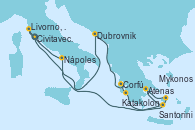 Visitando Civitavecchia (Roma), Dubrovnik (Croacia), Corfú (Grecia), Katakolon (Olimpia/Grecia), Santorini (Grecia), Atenas (Grecia), Mykonos (Grecia), Nápoles (Italia), Livorno, Pisa y Florencia (Italia), Civitavecchia (Roma)