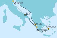 Visitando Bari (Italia), Venecia (Italia), Mykonos (Grecia), Mykonos (Grecia), Katakolon (Olimpia/Grecia), Corfú (Grecia), Bari (Italia)
