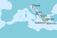 Visitando Bari (Italia), Corfú (Grecia), Atenas (Grecia), Mykonos (Grecia), Katakolon (Olimpia/Grecia), Trieste (Italia), Bari (Italia)