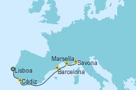 Visitando Lisboa (Portugal), Cádiz (España), Barcelona, Marsella (Francia), Savona (Italia)
