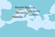 Visitando Génova (Italia), La Spezia, Florencia y Pisa (Italia), Civitavecchia (Roma), Valencia, Barcelona, Marsella (Francia), Génova (Italia)