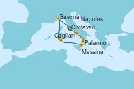 Visitando Civitavecchia (Roma), Nápoles (Italia), Palermo (Italia), Messina (Sicilia), Cagliari (Cerdeña), Savona (Italia), Civitavecchia (Roma)