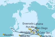 Visitando San Diego (California/EEUU), Cabo San Lucas (México), Mazatlan (México), Puerto Vallarta (México), San Diego (California/EEUU), Honolulu (Hawai), Port Allen, Kauai, Hawaiian, Lahaina  (Hawai), Hilo (Hawai), Kailua Kona (Hawai/EEUU), Ensenada (México), San Diego (California/EEUU)